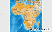 Political Shades 3D Map of Africa, satellite outside, bathymetry sea