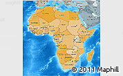 Political Shades 3D Map of Africa, semi-desaturated, land only
