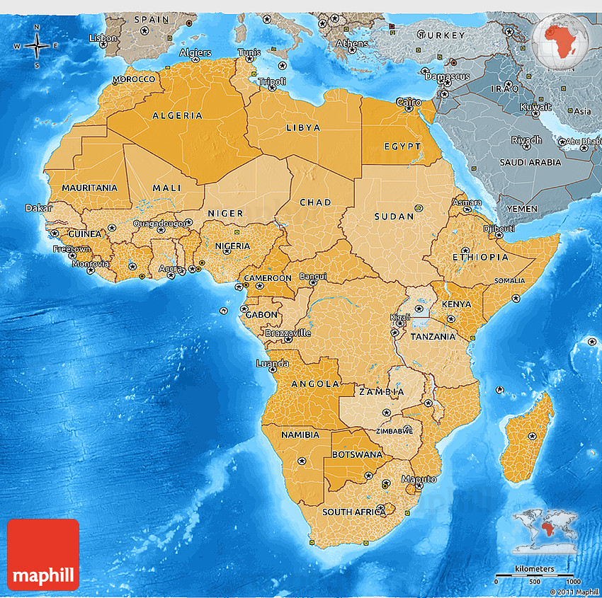 africa map land features