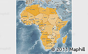Political Shades 3D Map of Africa, semi-desaturated