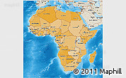 Political Shades 3D Map of Africa, shaded relief outside, bathymetry sea