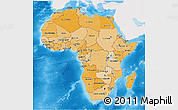 Political Shades 3D Map of Africa, single color outside