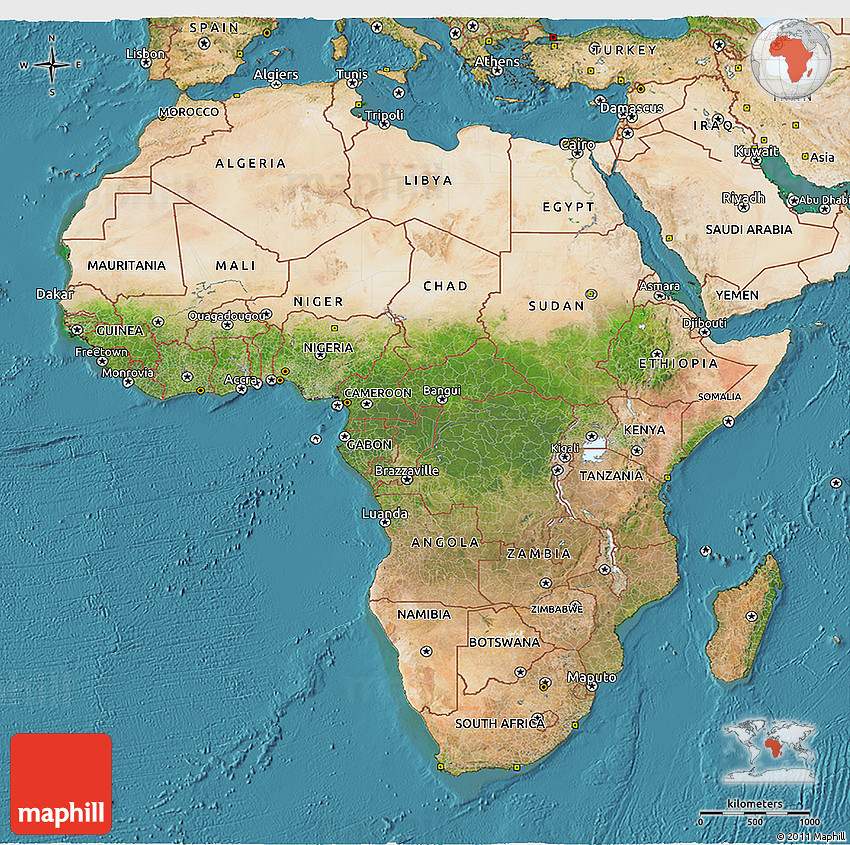 Satellite D Map Of Africa - Maps of africa