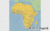 Savanna Style 3D Map of Africa, single color outside