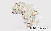 Shaded Relief 3D Map of Africa, cropped outside