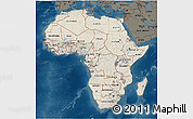 Shaded Relief 3D Map of Africa, darken