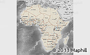Shaded Relief 3D Map of Africa, desaturated