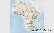 Shaded Relief 3D Map of Africa, lighten