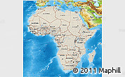 Shaded Relief 3D Map of Africa, physical outside