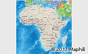 Shaded Relief 3D Map of Africa, political outside, shaded relief sea