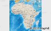 Shaded Relief 3D Map of Africa, political shades outside, shaded relief sea