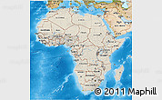Shaded Relief 3D Map of Africa, satellite outside, shaded relief sea