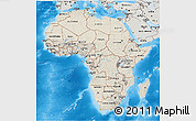 Shaded Relief 3D Map of Africa, semi-desaturated, land only