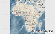 Shaded Relief 3D Map of Africa, semi-desaturated