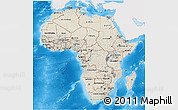 Shaded Relief 3D Map of Africa, single color outside