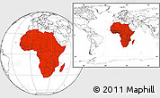 Blank Location Map of Africa, within the entire world