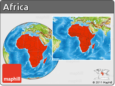 Physical Location Map of Africa