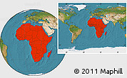 Satellite Location Map of Africa, within the entire world