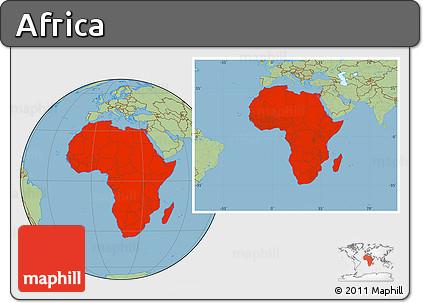Savanna Style Location Map of Africa