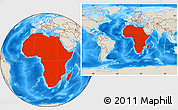Shaded Relief Location Map of Africa, within the entire world