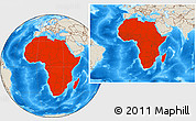 Shaded Relief Location Map of Africa