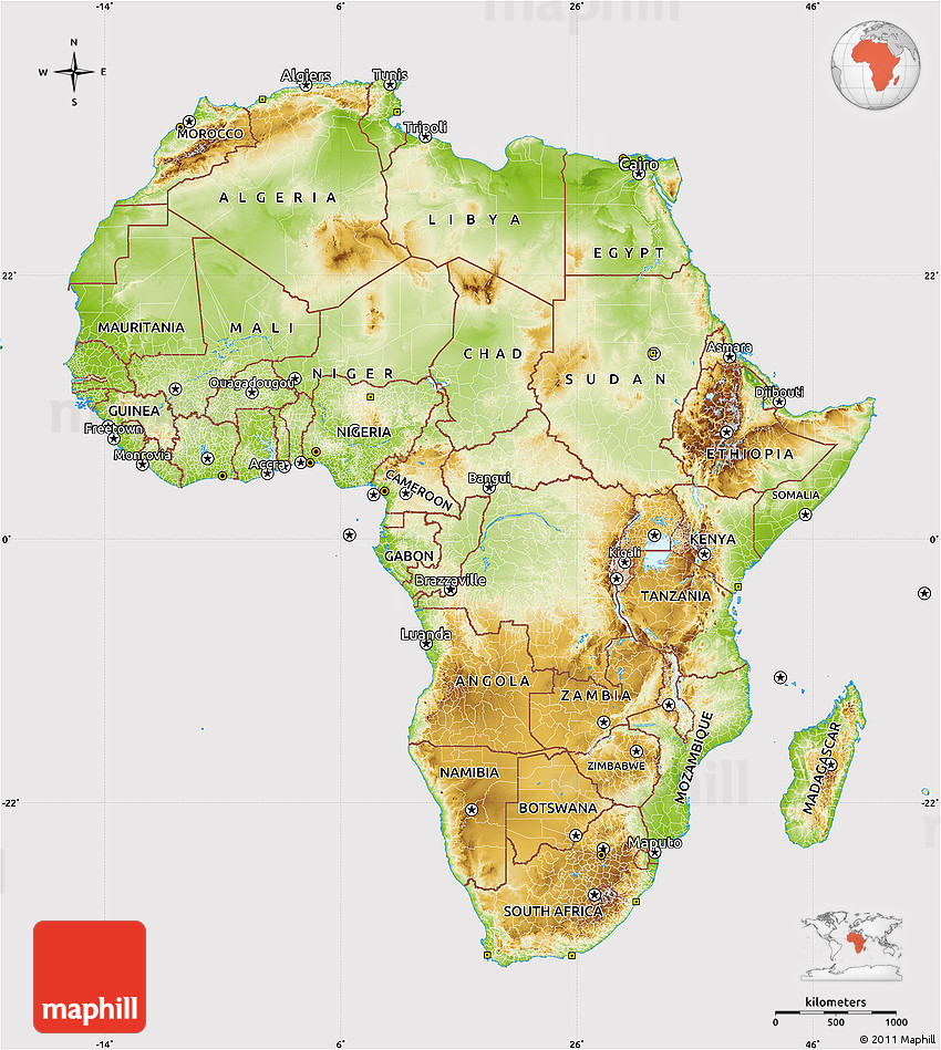 Physical Map Of Africa Cropped Outside - Africa map physical