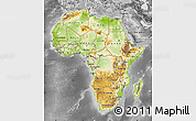 Physical Map of Africa, desaturated