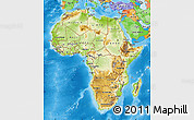 Physical Map of Africa, political outside, shaded relief sea