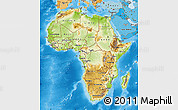 Physical Map of Africa, political shades outside, shaded relief sea