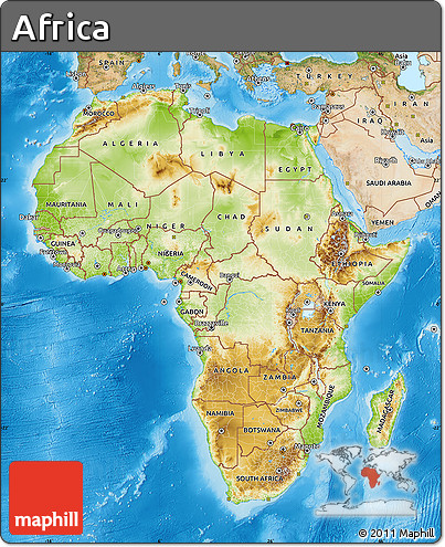 Free Physical Map of Africa satellite outside shaded relief sea