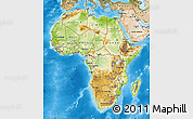 Physical Map of Africa, satellite outside, shaded relief sea
