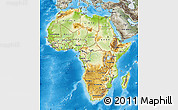 Physical Map of Africa, semi-desaturated, land only
