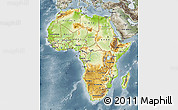 Physical Map of Africa, semi-desaturated
