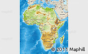 Physical Map of Africa, shaded relief outside