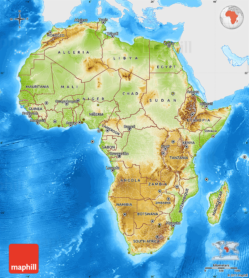 Physical Map of Africa single color outside bathymetry sea