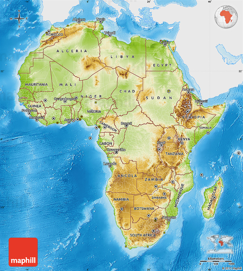 africa map with countries and physical features