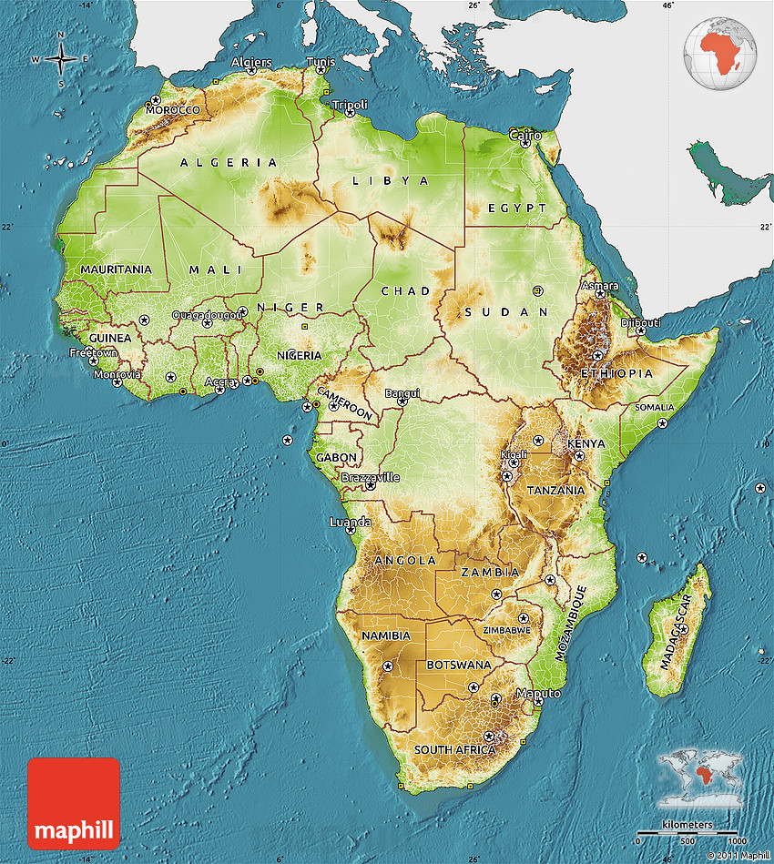 Physical Map Of Africa Single Color Outside Satellite Sea