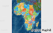 Political Map of Africa, darken