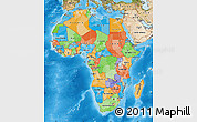 Political Map of Africa, satellite outside, bathymetry sea