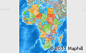 Political Map of Africa, semi-desaturated, land only