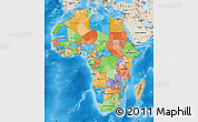 Political Map of Africa, shaded relief outside, bathymetry sea