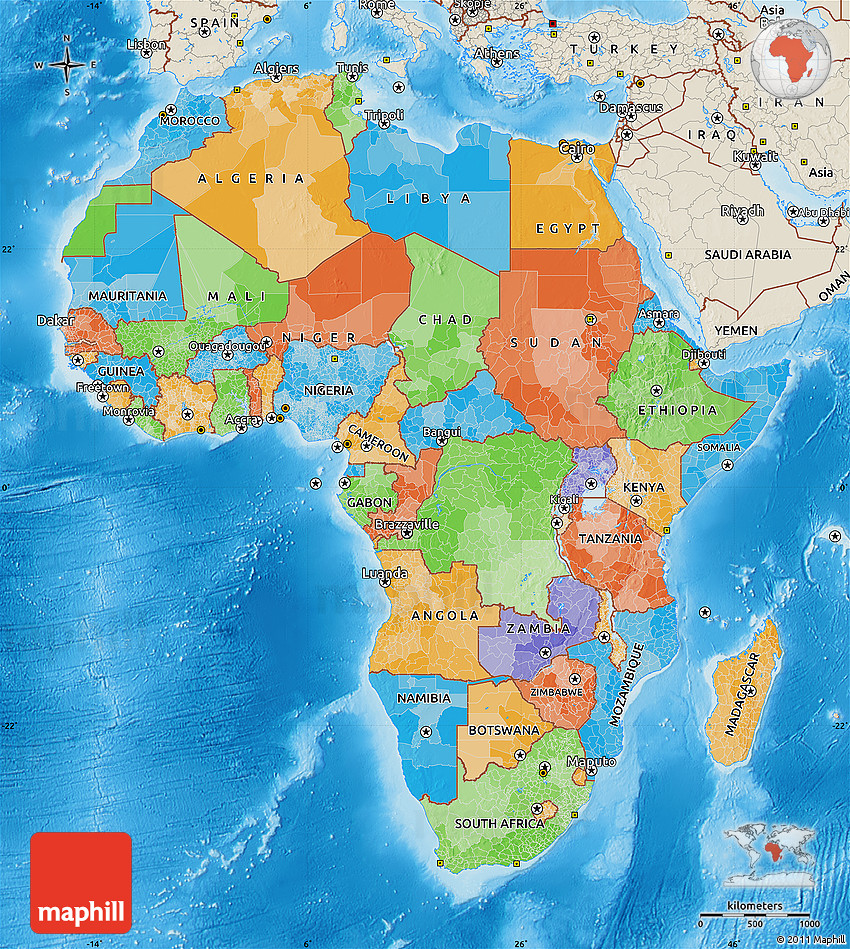 Political Map Of Africa Shaded Relief Outside