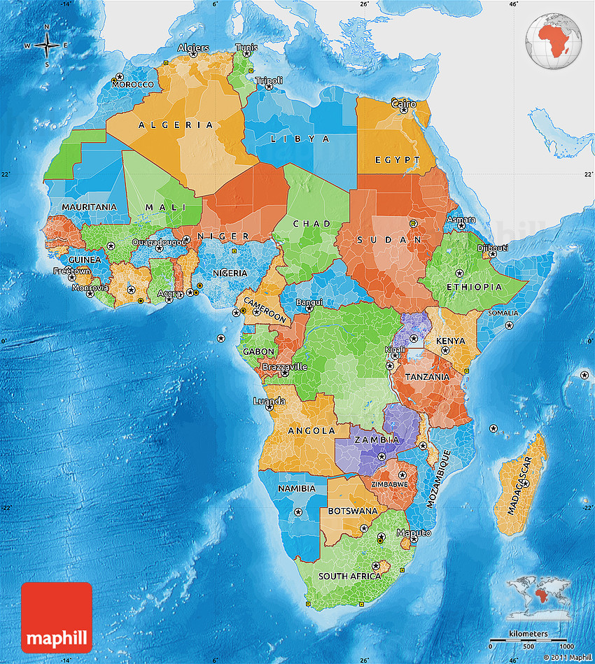 Political Map Of Africa Single Color Outside