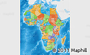 Political Map of Africa, single color outside