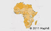 Political Shades Map of Africa, cropped outside