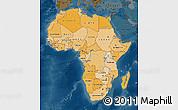 Political Shades Map of Africa, darken