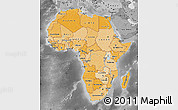 Political Shades Map of Africa, desaturated