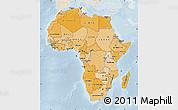 Political Shades Map of Africa, lighten