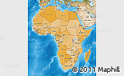 Political Shades Map of Africa, satellite outside, bathymetry sea