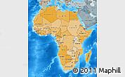 Political Shades Map of Africa, semi-desaturated, land only